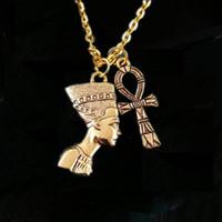 colar ankh egípcio venda por atacado-12 pçs / lote Nefertiti Colar Ankh Egípcio Jóias Egípcio Pingente de Colar de ouro tom