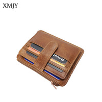 9133efc147a98 XMJY Oil Wax Leather Coin Purses Genuine Leather Zipper Men Mini Card  Holder Vintage Functional Wallets Teenager Money Pouch