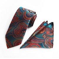 krawatten hanky sätze großhandel-10 Arten Art und Weise Männer Individuelle Krawatte Marke Krawatte Hanky Zwei-teiliges Set Polyester Paisley-Krawatte freies Verschiffen