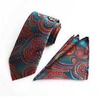 estilo de dos piezas para hombre. al por mayor-10 estilos de los hombres de la moda corbata personalizada lazo marca pañuelo de dos piezas de flete Set de poliéster corbata Paisley gratuito