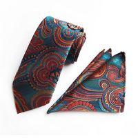 conjuntos de lenços venda por atacado-10 estilos moda masculina gravata marca gravata lenço de duas peças conjunto de poliéster paisley gravata frete grátis