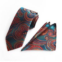 ingrosso set di cravatta-10 stili moda uomo collo cravatta cravatta Hanky due pezzi Set poliestere cravatta cachemire spedizione gratuita