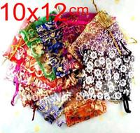 flores de organza de china al por mayor-500pcs 12x10cm amor del corazón bolsa de Navidad de la boda de la flor china 20color gasa de regalo bolsas de organza Jewlery de embalaje del regalo de la bolsa Bz03