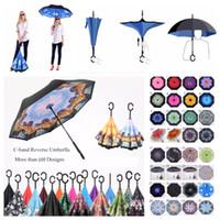 tela paraguas lluvia al por mayor-100 colores al aire libre paraguas invertido a prueba de viento en el interior hacia fuera de doble capa de tela de nylon C-Hook manos sol lluvia paraguas reversibles plegables
