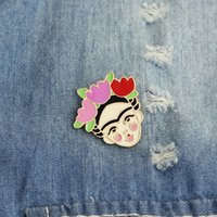 Wholesale christmas brooches - Artist Frida Kahlo Inspired Enamel Pin Badge Hard Enamel Pin Metal Brooches Pins Feminist Art Cute Jewelry for Women Girls Gift