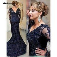 marineblau mütter kleid großhandel-Dunkelblauer V-Ausschnitt, Lange Ärmel Sweep Zug Spitze Kleid für die Brautmutter Große Größen für Mutter