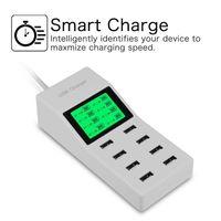 cargador de pared múltiple al por mayor-EE. UU. UE Reino Unido Multi 8 puertos usb cargador con pantalla LCD Dc voltímetro Smart Wall Charger para Yotaphone 2 Doogee X5 S6 18650 teléfono celular