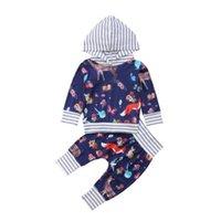 erkek çocuklar hoodies toptan satış-Yenidoğan Erkek Bebek Kız Hayvan Baskı Patchwork Hoodie + Pantolon Kıyafetleri Pamuklu Giysiler Tops