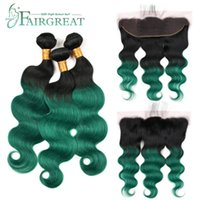 Wholesale burgundy human hair weave lace frontal for sale - Group buy Fairgreat Pre Colored B Green Remy Brazilian Body Wave Bundles With Closure Lace Frontal With Bundles Human Hair Weave