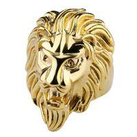 coole liebesschmuck großhandel-Mode Lion Band Ring Gold Stahl Farbe Herren Ringe 316L Edelstahl Schmuck Für Herren Schmuck Hochzeit Liebe Ring Anillos für Coole Männer