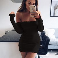 Wholesale red sweater mini dress - Women Sexy Dresses Long Sleeve Off Shoulder Club Slim Bodycon Knitted Sweater Mini Casual Night Dresses Gray Black Red S-2XL