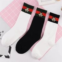 Wholesale wholesale red striped socks - 3 Colors Fashion Socks Red Black Striped Stockings Bees Embroidery Tide Brand Socks Knee High Sports Socks 2pcs pair