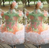 vestido de princesa cupcakes al por mayor-Cupcake Toddler Girls Vestidos del desfile Princess Flower Girls Vestido de bola Correas Blingbling Lentejuelas Cuentas falda Puff Vestidos de niñas para Fiesta