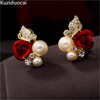 Wholesale fine pearl earrings - 2018 New Hot ! Fashion Fine Excellent Jewelry Red Rose Butterfly Pearl Gold Color Brincos Stud Earrings Women Ladies Gift E-745