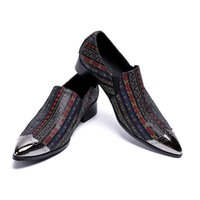 ingrosso scarpe da uomo di cristallo-Italian Luxury Uomo Scarpe Punta a punta in metallo Colore Crystal Leather Men Dress Shoes Oxfords Flats Uomo
