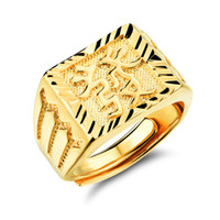 Wholesale gold jewellery ring man online - Men K Gold Plated Jewelry Rings For Man Exquisite Men s Ring Get Rich In Chinese Personality Accessories Fashion Jewellery KJ031