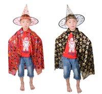 ingrosso accessori per abiti da festa-Bambino Cappe Cappello Suits Wizard Capo Costume Party Strega Halloween Cap Scheletro Stampa Abito Robe Adolescente Costumi Cosplay Accessori