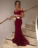 Wholesale cheap maternity special occasion dresses - Maroon Burgundy Off Shoulder Prom Dress Mermaid Long Special Occasion Dress Formal Evening Party Dress Plus Size Cheap
