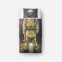разработка детских кроватей оптовых-Пожарные тема постельные принадлежности 3D дизайн Близнец один размер постельные принадлежности наборы для детей Ребенок мультфильм пододеяльник набор