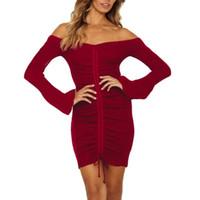 207c7e4cac57c Kadınlar Seksi Artı Boyutu Bir Dünya Yaka Uzun kollu Tüp Üst Kıvrımlar  Zarif Parti Elbise Backless Katı Renk Parti Elbiseler