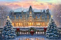 Wholesale art painting for sale - Thomas Kinkade Landscape Christmas at Biltmore Oil Painting Reproduction High Quality Giclee Print on Canvas Modern Home Art DecorT322