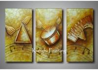 abstrakte kunst gemälde leinwand frei großhandel-100% handgemachte moderne 3 Panel abstrakte Musik Gemälde Wand Kunst Leinwand abstrakte Musik Gemälde Home Decor Geschenk kostenloser Versand