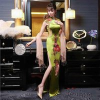 modern korece gelinlik toptan satış-Seksi Modern Çin Geleneği Bayanlar Gelinlik 2017 Kore Uzun Cheongsam Elbise Qipao Perspektif Vestido Oryantal Tarzı