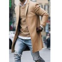 sobretudo de chegada venda por atacado-Chegada nova Moda Casaco De Lã Dos Homens de Inverno Trench Coat Outwear Casaco de Manga Longa Casaco Casaco Inteligente