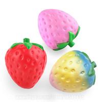 Wholesale Imitation Roses - Strawberry Squishies Fruit Imitation Fruitage Squishy Scented Toy Fidget Jumbo Kawaii Slow Rising Big Phone Pendant Free Shipping SQU007