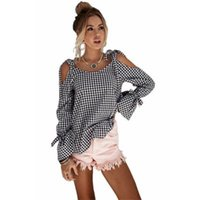 Wholesale white long sleeved blouse women for sale - Women Street Shirts Black and white Strapless long sleeved bow plaid blouse Sexy Top Shirts Long Sleeve Off Shoulder Pullover Shirt