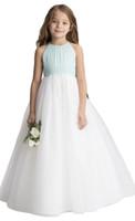beyaz yeşil şifon elbiseler toptan satış-Güzellik Yeşil / Beyaz Tül / Şifon Jewel Çiçek Kız Elbise Kız Pageant Elbise Doğum Günü Tatil Elbiseler Özel Boyut 2-14 FF727069