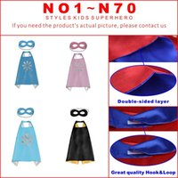 Wholesale halloween costume - Double Side Designs cm Kids Superhero Cape Cartoon Cute Capes and Masks Children Kids Capes Cosplay Party Costumes Halloween Gift