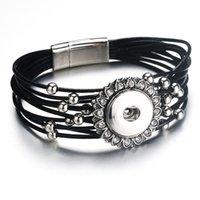snap buttons jewelry venda por atacado-Ímã Fivela Preto Rhinestone Snap Pulseira Pulseira De Couro Genuíno Real Fit 18mm Botão Snap Para As Mulheres Jóias 9129