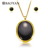 großer schwarzer onyx großhandel-Fashion Big Size Black Onyx Edelstahl Anhänger Halskette mit Ohrring Schmuck Sets für Frauen N0