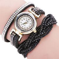 заплетенные кожаные часы оптовых-Quartz Women Rhinestone Watch Braided Leather Bracelet Watch  relojes Casual Gift C30813