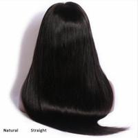 dantel önleri hafif yaki toptan satış-İnsan Bakire Remy Brezilyalı Yumuşak Saç Dantel Ön Tam Dantel Işık Yaki Peruk 130% Desnity Doğal Siyah Renk