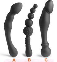 alternative anal toys großhandel-3 Arten Silikon Butt Anal Plug Spielzeug Massager 2 Köpfe Simulation Penis Sexspielzeug Für Frau Männer Homosexuell Sex Produkte Alternative Spielzeug