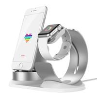 telefone base iphone venda por atacado-Atacado 3 em 1 suporte do telefone de mesa para a apple watch suporte para airpods estação doca base de carga para iphone x 8 suporte móvel