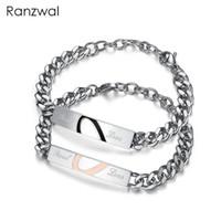женские ювелирные изделия из нержавеющей стали оптовых-Ranzwal 316L Stainless Steel Bracelets for Men Women Puzzled Heart Couple Bracelet Bangles for Lovers Jewelry WBR019