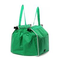 сумка с зеленой тележкой оптовых-Зеленый висит сумка для хранения Resuable Эко дружественных организатор тележки клип в корзину сумки прочный большой емкости 8 5XB BB