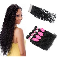 Wholesale Brazilian Deep Wave Curly Bundles With Lace Closure A Brazilian Deep Wave Human Hair Extension Brazilian Deep curly Closure Deals
