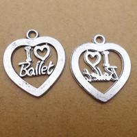 Wholesale I Earrings - 50pcs Vintage Antique Silver I love ballet word Charms Pendants Handmade Jewelry accessories21*25mm Fit earrings Bracelet Anklet