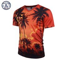 Wholesale Orange Coconut - Mr.BaoLong 2017 New Summer Coconut Tree 3D Printed T Shirt Women Men Harajuku Nightfall Hawaiian Tee Shirt Drop Shipping