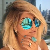 ingrosso occhiali da sole rosa grandi-lusso Vintage tondo grande Oversize lens Mirror Designer di marca Pink Sunglasses Lady Cool Retro UV400 Donna Occhiali da sole unisex