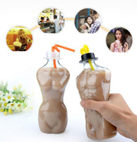 Wholesale big beer bottles - Creative Sexy Human Body Cup 500ml Summer Milk Tea Juice Bottle Big Glass Beer Transparent Cup EEA402 200pcs