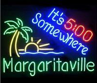 signos margaritaville al por mayor-Custom New Margaritaville Es 500 Somewhere Real Glass Letrero de neón light Beer Bar Registrarse Enviar necesita foto 19x15