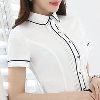 Wholesale korean formal woman shirt - Women Blouse Summer Top Short Sleeve Shirt Blouses Professional Wear Korean Fashion Ladies Office White Shirt Blusa