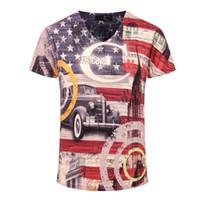 neue punkkleidung großhandel-neue Vintage Punk Kurzarm V-Ausschnitt 3d gedruckt Männer T-Shirts Marke lässig Baumwolle T-Shirt Herren T-Shirts Herrenbekleidung