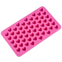 Wholesale Wholesale Heart Shaped Chocolates - Silicon chocolate molds heart shape 66 holes silicon cake mold silicon ice tray jelly moulds soap mold cake bakeware tools 11x18.5x1.4cm