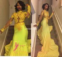 vestidos formais amarelos e negros venda por atacado-Black Girl 2018 Brilhante Amarelo Lace Prom Vestidos de Noite Sereia Bateau Ilusão Mangas Compridas Vestidos de Fiesta Formal Vestidos de Noite Árabe